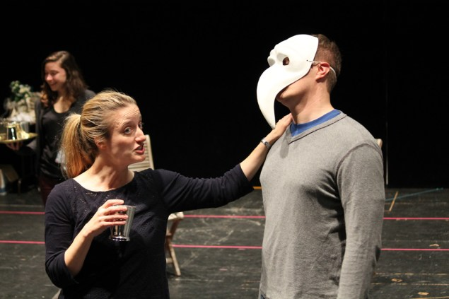 """Jennifer Lee Taylor as Beatrice and Matt Shimkus as Benedick in rehearsal for """"Much Ado About Nothing."""""""