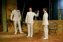 "Jim Gall as Don Pedro, Matt Shimkus as Benedick, and Jay Myers as Claudio in Seattle Shakespeare Company's 2013 production of ""Much Ado About Nothing."" Photo by John Ulman."
