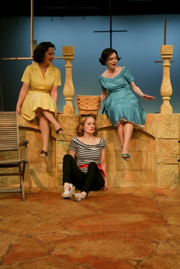 """Zandi Carlson as Ursula, Jennifer Lee Taylor as Beatrice, and Brenda Joyner as Hero in Seattle Shakespeare Company's 2013 production of """"Much Ado About Nothing."""" Photo by John Ulman."""