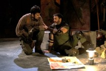 "Jake Ynzunza and Mike Dooley as Tullus Aufidius in Seattle Shakespeare Company's 2012 production of ""Coriolanus."" Photo by John Ulman."