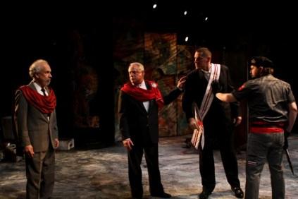 David S. Klein as Sicinius Velutus, Peter A. Jacobs as Menenius Agrippa, David Drummond as Coriolanus, and Tom Dewey as Titus Lartius