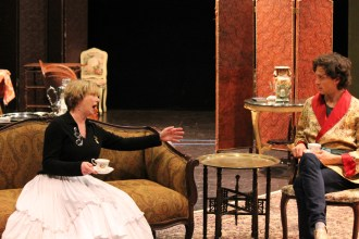 Kimberly King as Lady Bracknell and Quinn Franzen as Algernon