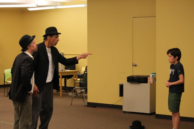 Darragh Kennan as Estragon, Todd Jefferson Moore as Vladimir and Alex Silva as the Boy