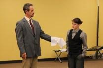 David Quicksall as Malvolio and Allie Pratt as Viola.