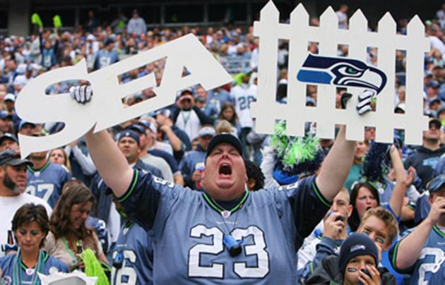 Seattle Seahawks fan with Defense fence.