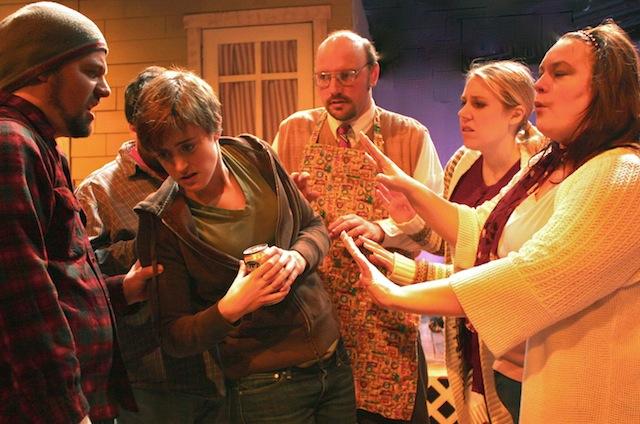 (From left:) Robert Hankins, Katherine Grant-Suttie, Lantz Wagner, Jenny Schmidt, Amelia Meckler in Macha Monkey's Thebes. Courtesy of Macha Monkey