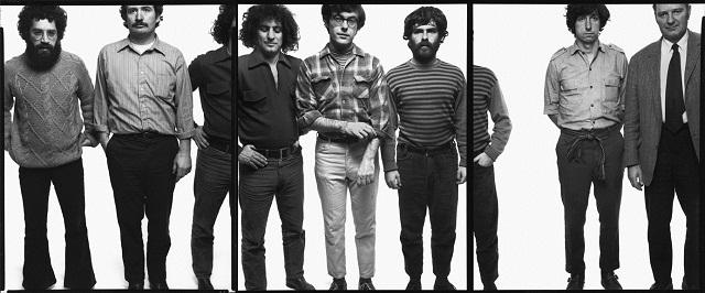 The Chicago Seven, tryptichally photographed by Richard Avedon, September 25, 1969. L-R: Lee Weiner, John Froines, Abbie Hoffman, Rennie Davis, Jerry Rubin, Tom Hayden, and David Dellinger.