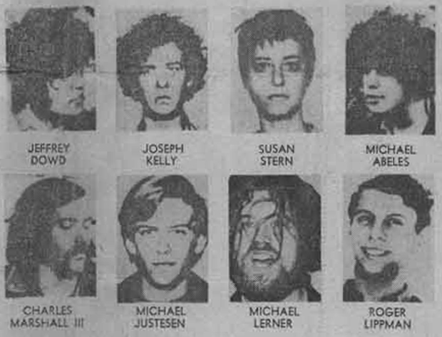 The Seattle Eight, represented unflatteringly on the front page of the Seattle Post-Intelligencer, April 17, 1970