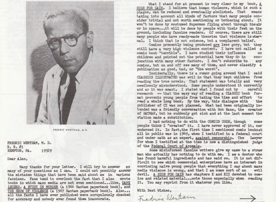 Letter to a fanzine editor by Wertham, 1970.