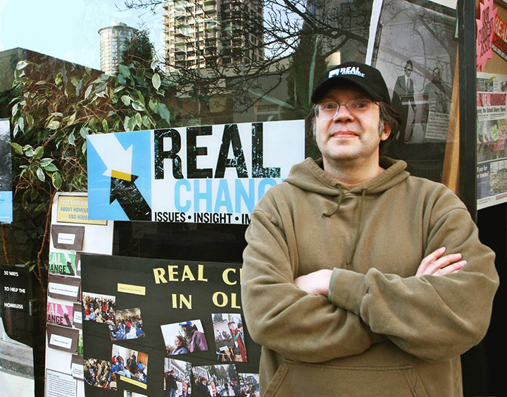 Real Change founder and director Tim Harris outside the paper's original office in Belltown, May 2010 Kelly O / The Stranger