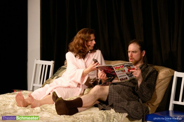 Matthew Middleton is having none of it from Deniece Bleha in Catherine Thiechmann's THE MOST DESERVING at Theater Schmeater. (Courtesy of Theater Schmeater.)