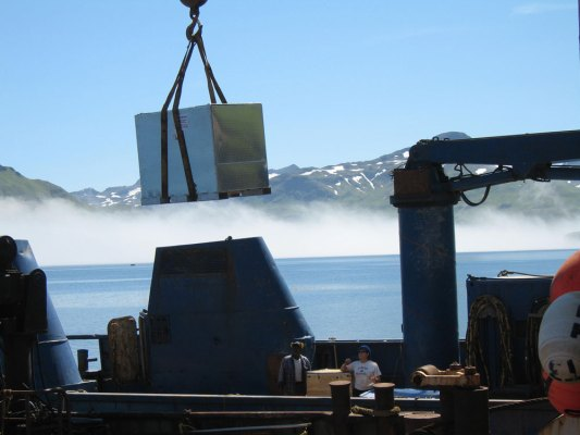 SeaView Systems equipment is shown mobilizing for ROV operations on the NOAA vessel Nancy Foster.