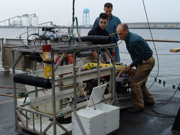SeaView Systems' SeaEye Falcon DR ROV is shown being loaded prior to a NOAA launch 2008.