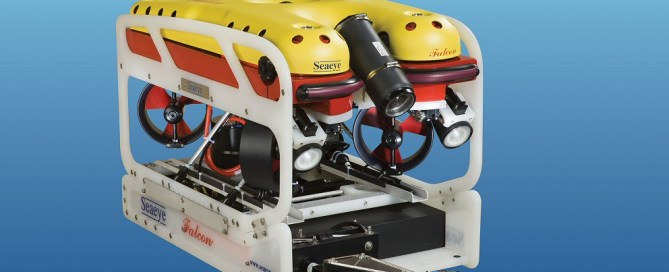 SeaView Systems' Saab Seaeye Falcon underwater robotic remote operated vehicle (ROV) is shown with a manipulator arm skid.