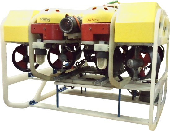 SeaView Systems' Raptor underwater robotic remote operated vehicle (ROV) is shown, which greatly expands the power and capabilities of the Saab Seaeye Falcon.