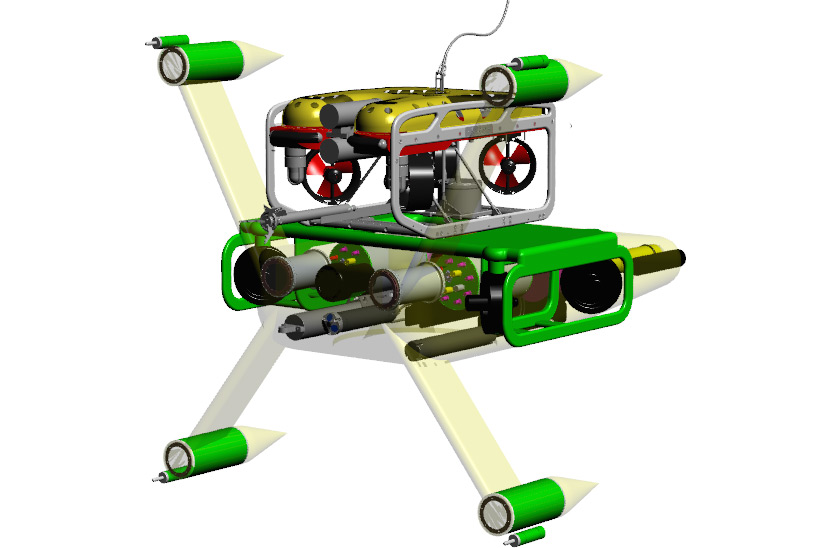 A concept drawing of the SeaView Systems Millennium Skid underwater robotic remote operated vehicle (ROV) is shown.