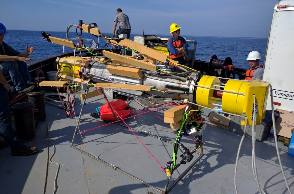 The SeaView Systems Titan underwater robotic remote operated vehicle (ROV) is shown being deployed in Port Huron, Michigan.
