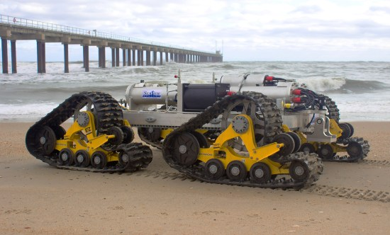 The SeaView Systems SurfROVer robotic remote operated vehicle is shown in the littoral surf zone.