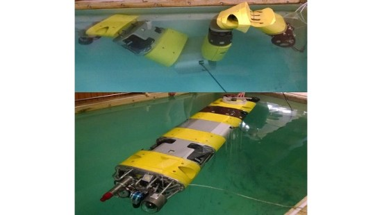 The SeaView Systems Chiton articulated underwater robotic remote operated vehicle (ROV) is seen being tested in our 10,000 gallon test tank.