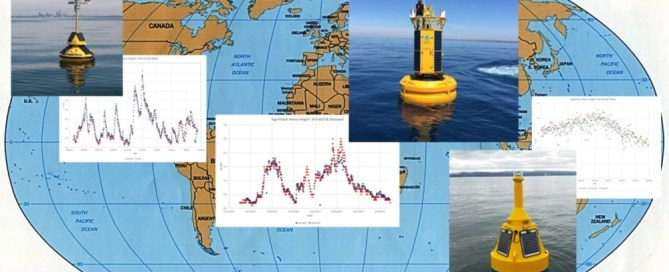 A map is shown highlighting data buoys utilizing the SeaView Systems SVS-603 wave sensor across the globe.