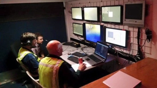The ROV control center within SeaView Systems' custom control trailer is shown during an ROV investigation.