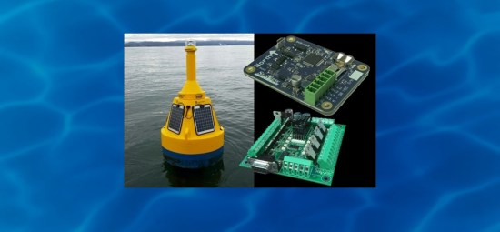 The SeaView Systems SVS-603 wave sensor and SVS-601 System Power Controller are shown along with a data buoy.