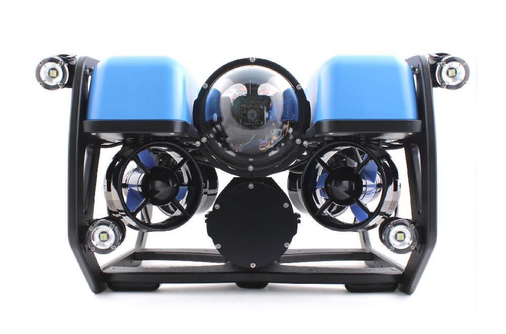 SeaView Systems' Blue Robotics BlueROV2 underwater robotic remote operated vehicle (ROV) is shown with the quad lumen lights upgrade.