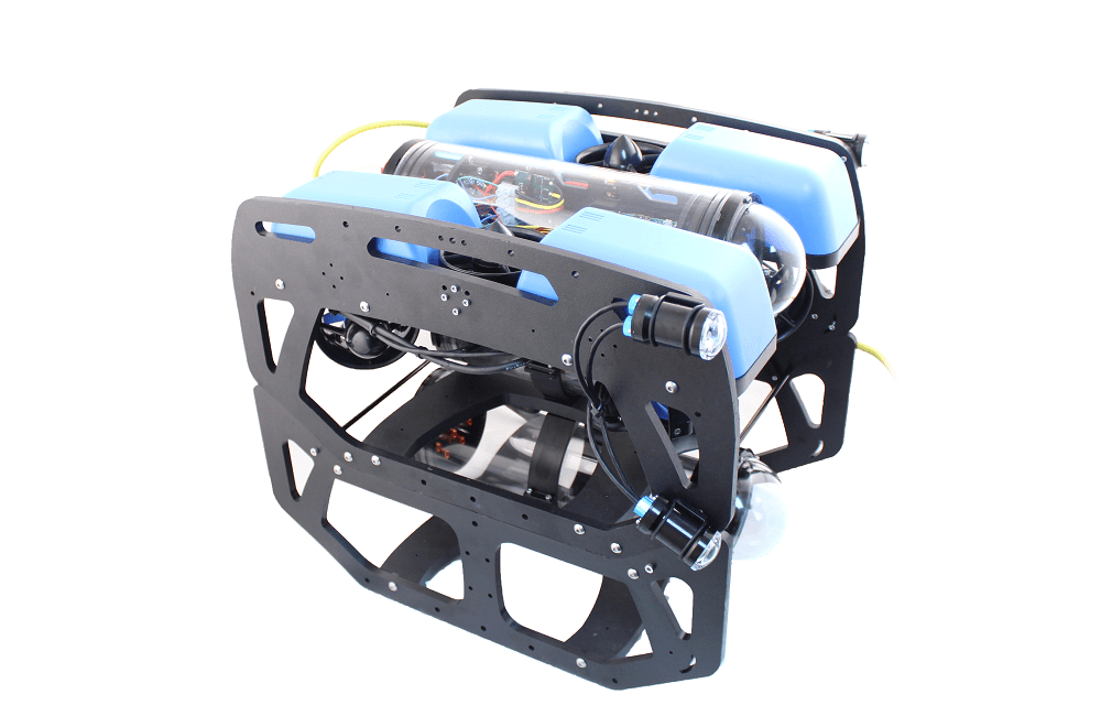 SeaView Systems' Blue Robotics BlueROV2 underwater robotic remote operated vehicle (ROV) is shown with an extra payload skid.