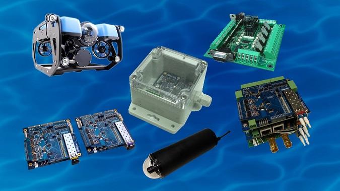 SeaView Systems' Blue Robotics BlueROV2, SVS-603 wave sensor, SVS, 601 system power controller, SVS-509 Omni-Data stack, $K UHD CinemaCam, and SVS-109 fiber optic multiplexer (mux) set are shown.