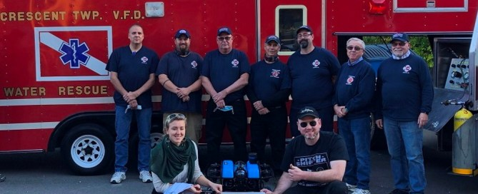 Members of the Crescent Township Pennsylvania Fire and Rescue department are shown with their new Blue Robotics BlueROV2 from SeaView Systems.