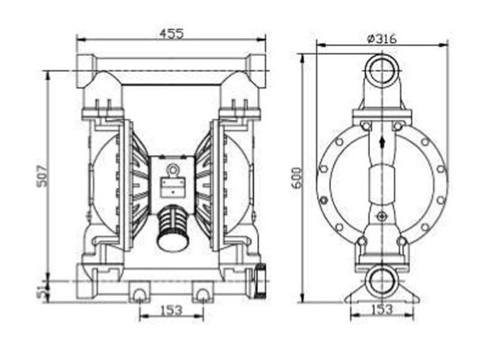 Cast iron ductile Pneumatic Diaphragm Pumps for