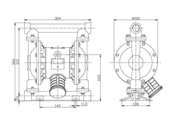 Stainless steel Pneumatic Diaphragm Pumps air-operated for