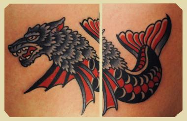 the sea wolf tattoo, americana, minneapolis tattoo shops, minnesota tattoos, sea wolf tattoo, wolf tattoo, traditional tattoos