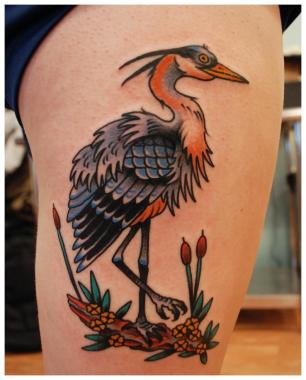 great blue heron tattoo, minneapolis tattoo shops, minnesota tattoo shops, minnesota tattoos, sea wolf tattoo company, traditional tattoos