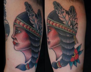 native beauty tattoo, girl tattoo, minneapolis tattoo shops, minnesota tattoo shops, minnesota tattoos, native american tattoo, traditional tattoos