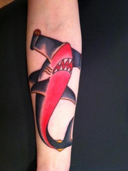 hammerhead shark tattoo, minneapolis tattoo shops, minnesota tattoo shops, minnesota tattoos, sea wolf tattoo, shark tattoo, traditional tattoos