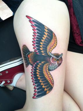 owl tattoo, minneapolis tattoo shops, minnesota tattoo shops, minnesota tattoos, sea wolf tattoo company, traditional tattoos