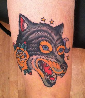 the other wolf tattoo, minneapolis tattoo shops, minnesota tattoo shops, minnesota tattoos, sea wolf tattoo company, wolf tattoo, traditional tattoos
