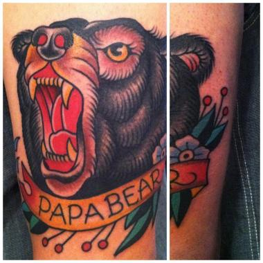 papa bear!, black bear tattoo, minneapolis tattoo shops, minnesota tattoo shops, minnesota tattoos, sea wolf tattoo company, traditional tattoos