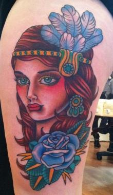 flapper girl tattoo, minneapolis tattoo shops, minnesota tattoo shops, minnesota tattoos, sea wolf tattoo company, traditional tattoos