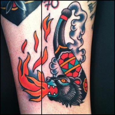 bear pipe tattoo!, jason walstrom tattoos, minneapolis tattoo shops, minnesota tattoo shops, sea wolf tattoo company, traditional bear tattoo, traditional tattoos