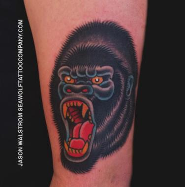 gorilla tattoo!, gorilla tattoo, jason walstrom tattoos, minneapolis tattoo shops, minnesota tattoo shops, minnesota tattoos, traditional tattoos