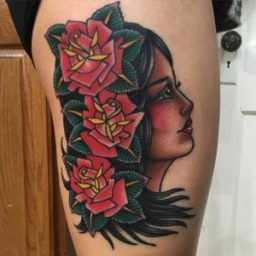 lady-head-roses-tattoo