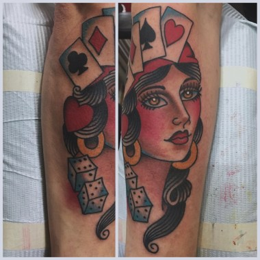 gambling lady tattoo, jason walstrom tattoos, minneapolis tattoo, minneapolis tattoo shops, minnesota tattoo shops, traditional tattoo, traditional tattoos