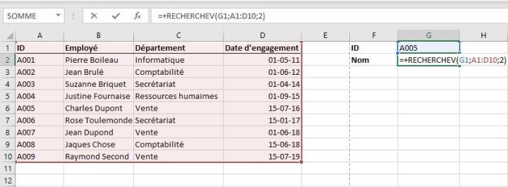 La fonction RECHERCHEV dans Excel