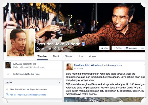 mana facebook jokowidodo, facebook jokowi presidenku asli