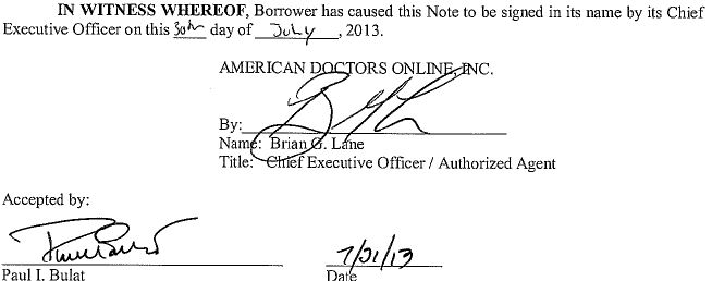 Convertible Promissory Note by American Doctors Online Inc