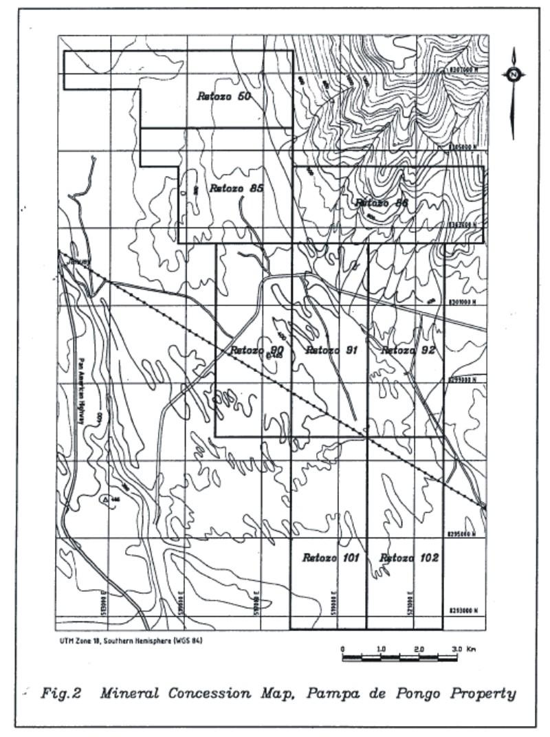 Figure 2. Mineral concession map, Pampa de Pongo Property