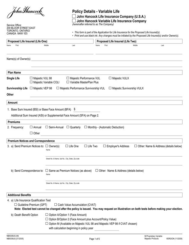 Foundation Life Insurance Life Insurance Questionnaire Pdf