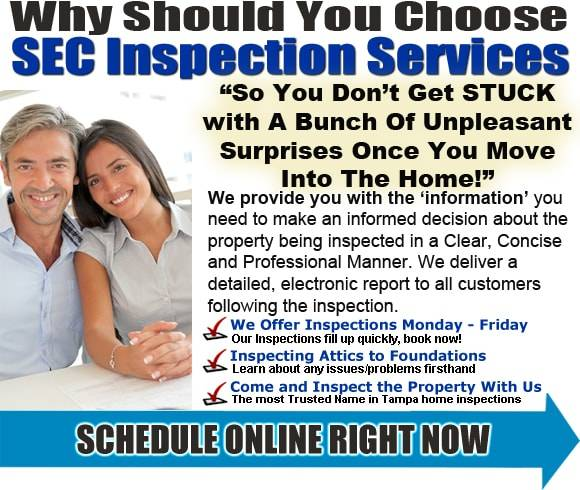 Why should you choose SEC Inspection Services? So you don't get struck with a bunch of unpleasant surprises once you move into the home. We provide you with the information you need to make an informed decision about the property being inspected in a Clear, Concise and Professional Manner. We deliver a detailed, electronic report to all customers following the inspection. We offer inspections Monday through Friday and Saturday and Sunday as needed. We inspect your home from the attic to the foundation and want you to come and inspect the home with us. We're your most trusted name in Tampa home inspections.